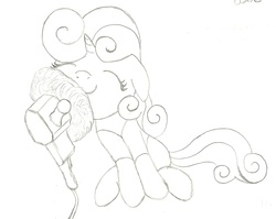 Size: 1292x1028 | Tagged: safe, artist:the-laughing-horror, sweetie belle, pony, robot, robot pony, unicorn, black and white, buffer, buffing, color me, cute, diasweetes, eyes closed, female, filly, floppy ears, foal, grayscale, hooves, horn, monochrome, simple background, sitting, solo, sweetie bot, white background
