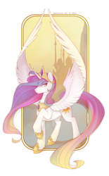 Size: 2107x3396 | Tagged: dead source, safe, artist:antiander, princess celestia, canterlot, frame, high res, long tail, raised hoof, solo, spread wings, unshorn fetlocks
