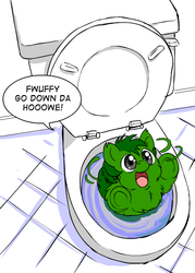 Size: 500x700 | Tagged: source needed, safe, artist:marcusmaximus, fluffy pony, bathroom, flush, stupidity, this will end in tears and/or death, tiny toon adventures, toilet