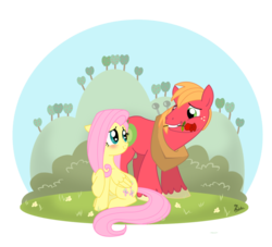 Size: 800x725 | Tagged: safe, artist:thephoebster, big macintosh, fluttershy, earth pony, pony, blushing, flower, flower in mouth, fluttermac, male, mouth hold, rose, shipping, simple background, stallion, straight, transparent background, unshorn fetlocks