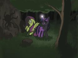 Size: 1024x768 | Tagged: safe, artist:cannibalus, fluttershy, twilight sparkle, spider, dark, forest, glow, scared, shadow