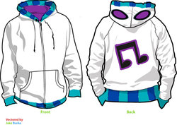 Size: 900x637 | Tagged: artist:cyphris09, clothes, cutie mark, dj pon-3, hoodie, safe, simple background, vector, vinyl scratch, white background