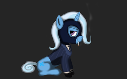 Size: 1312x817 | Tagged: safe, artist:maradarazar, trixie, cigarette, clothes, mask, parody, smiling, spy, suit, team fortress 2