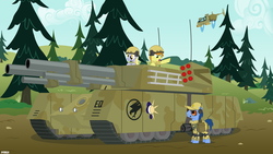 Size: 2880x1620 | Tagged: safe, artist:a4r91n, blues, carrot top, derpy hooves, golden harvest, noteworthy, pegasus, pony, clothes, command and conquer, crossover, female, global defense initiative, hat, helmet, jet, mammoth tank, mare, military, minigun, orca assault craft, scrunchy face, tank (vehicle), tiberian dawn, tree, vector
