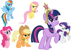 Size: 8000x5650 | Tagged: safe, artist:choopy, applejack, fluttershy, pinkie pie, rainbow dash, rarity, twilight sparkle, earth pony, pegasus, pony, unicorn, the return of harmony, absurd resolution, determined, elements of harmony, mane six, simple background, transparent background, vector