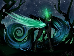 Size: 4000x3077 | Tagged: safe, artist:vardastouch, queen chrysalis, changeling, changeling queen, female, glowing horn, impossibly long hair, impossibly long tail, long hair, long mane, long tail, night, solo, stars