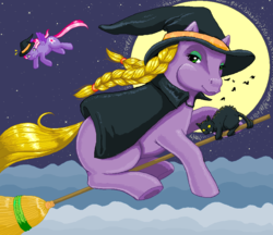 Size: 910x788 | Tagged: safe, artist:hollowzero, abra-ca-dabra, starsong, cat, braid, broom, cape, clothes, cloud, cloudy, flying, flying broomstick, full moon, g3, halloween, hat, looking back, moon, ms paint, night, night sky, smiling, spread wings, stars, underhoof, wide eyes, witch hat