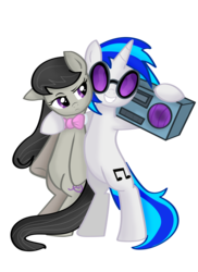 Size: 10200x14039 | Tagged: safe, artist:pridark, dj pon-3, octavia melody, vinyl scratch, earth pony, pony, unicorn, absurd resolution, bipedal, boombox, bowtie, cutie mark, female, hooves, horn, hug, lesbian, mare, octavia is not amused, scratchtavia, shipping, simple background, smiling, sunglasses, teeth, transparent background, unamused, vector