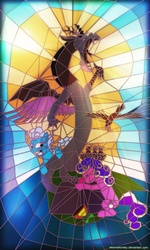 Size: 1200x2000 | Tagged: safe, artist:alexmakovsky, discord, screw loose, screwball, draconequus, earth pony, pony, daddy discord, female, stained glass, statue, statue discord, trio