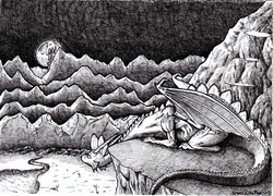 Size: 4884x3514 | Tagged: safe, artist:smellslikebeer, spike, black and white, crosshatch, grayscale, ink, looking at something, looking away, monochrome, moon, night, older, older spike, traditional art