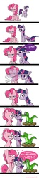 Size: 700x3205 | Tagged: safe, artist:cobracookies, gummy, pinkie pie, twilight sparkle, alligator, earth pony, pony, unicorn, bipedal, blinking, comic, frown, pinkie being pinkie, raised hoof, smiling, staring contest, stool, surprised, text