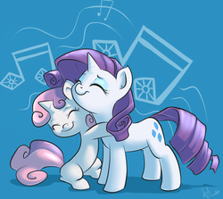 Size: 1121x1000 | Tagged: safe, artist:atryl, rarity, sweetie belle, pony, unicorn, cute, diasweetes, eyes closed, female, filly, happy, heartwarming, hug, mare, music notes, raribetes, sisters, sweet dreams fuel