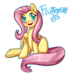 Size: 786x855 | Tagged: artist:pauuhanthothecat, blushing, butterfly, colored pupils, cute, ear fluff, female, fluttershy, happy, hoof fluff, leg fluff, looking at you, mare, open mouth, pegasus, pony, safe, shrunken pupils, shyabetes, simple background, sitting, smiling, solo, text, transparent background, wing fluff