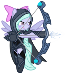 Size: 3059x3531 | Tagged: armor, arrow, artist:he4rtofcourage, bow and arrow, bow (weapon), crossover, dota, dota 2, drow ranger, flitter, high res, safe, simple background, transparent background, traxex
