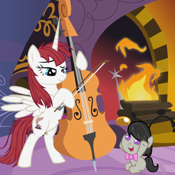 Size: 5400x5400 | Tagged: artist:beavernator, cello, filly, foal, lauren faust, oc, oc:fausticorn, octavia melody, safe