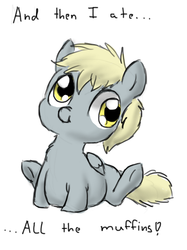 Size: 524x700 | Tagged: safe, artist:defenceless, derpy hooves, pegasus, pony, :t, aderpose, belly, chubby, cute, derp, fat, female, fluffy, mare, nose wrinkle, scrunchy face, sitting, smiling, solo, underhoof