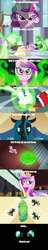 Size: 500x2584 | Tagged: safe, princess cadance, queen chrysalis, shining armor, changeling, bad end, comic, disguise, disguised changeling, fake cadance, mind blown, song