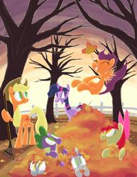 Size: 1148x1485 | Tagged: safe, artist:aliasforrent, apple bloom, applejack, derpy hooves, scootaloo, spike, sweetie belle, twilight sparkle, pegasus, pony, autumn, cute, cutie mark crusaders, female, leaf pile, leaves, mare