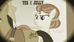 Size: 1440x810 | Tagged: safe, edit, edited screencap, screencap, pokey oaks, sew 'n sow, family appreciation day, duo, granny smith's father, granny smith's mother, granny smith's parents, image macro, jelly, nose wrinkle, scrunchy face