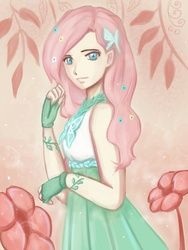 Size: 768x1024 | Tagged: artist:macarosca, clothes, dress, fluttershy, gala dress, humanized, safe, solo