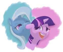 Size: 1700x1410 | Tagged: artist:phoreen, biting, ear bite, lesbian, safe, shipping, trixie, twilight sparkle, twixie