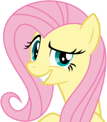 Size: 8777x10000 | Tagged: safe, artist:teiptr, fluttershy, pegasus, pony, absurd resolution, always works, dreamworks face, grin, looking at you, raised eyebrow, simple background, smirk, smug, smugshy, solo, transparent background, troll, trollface, vector