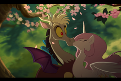 Size: 1418x950 | Tagged: safe, artist:anima-dos, discord, princess celestia, alicorn, draconequus, pony, cherry blossoms, dislestia, eyes closed, female, flower, flower blossom, interspecies, kissing, male, no more ponies at source, pink-mane celestia, shipping, shocked, spread wings, straight, surprise kiss, surprised, wide eyes, wings, young, younger