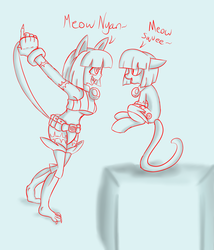 Size: 1944x2273 | Tagged: safe, artist:reneesdetermination, anthro, pony, anthro ponidox, bell collar, breasts, cat ears, claws, clothes, collar, female, lineart, long tail, meow, midriff, ms. fortune, nyan, skullgirls, sound effects, sports panties, squee, tilde, underboob