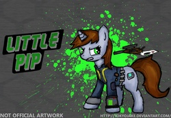 Size: 2600x1800 | Tagged: safe, artist:tokyojake, oc, oc only, oc:littlepip, pony, unicorn, fallout equestria, fighting is magic, abstract background, clothes, cutie mark, fanfic, fanfic art, female, glowing horn, gun, handgun, hooves, horn, levitation, little macintosh, magic, mare, optical sight, pipbuck, revolver, solo, teeth, telekinesis, text, vault suit, weapon