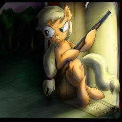 Size: 900x898 | Tagged: safe, artist:rule1of1coldfire, applejack, pony, bipedal, female, gun, shotgun, solo, weapon