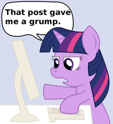 Size: 884x972 | Tagged: safe, artist:starshinesprint, twilight sparkle, computer, dialogue, keyboard, open mouth, pointing, reaction image, simple background, solo