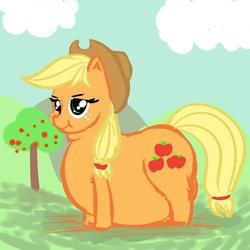 Size: 1600x1600 | Tagged: source needed, safe, artist:metalforever, applejack, applefat, double chin, fat