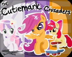 Size: 1000x800 | Tagged: apple bloom, artist:steviewunderz, cutie mark crusaders, safe, scootaloo, sweetie belle