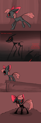 Size: 1280x3840   Tagged: dead source, safe, artist:voids-edge, apple bloom, skeleton pony, undead, zombie, story of the blanks, bad end, bone, corrupted, protected apple bloom, red background, red eyes, simple background, skeleton, transformation