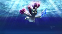 Size: 1200x652 | Tagged: album cover, artist:tsitra360, female, filly, nevermind, nirvana, open mouth, ponified, ponified album cover, pony, safe, signature, solo, sweetie belle, underwater, unicorn