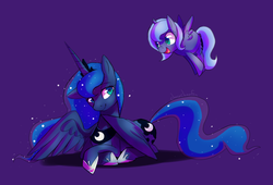Size: 1469x1001   Tagged: safe, artist:sharmie, princess luna, alicorn, pony, cute, ethereal mane, featured image, filly, flying, happy, lunabetes, open mouth, prone, self ponidox, simple background, smiling, spread wings, starry mane, the fun has been doubled, woona