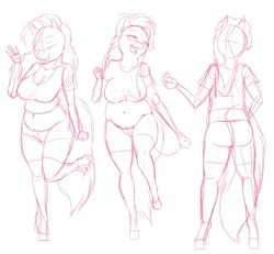Size: 800x738 | Tagged: safe, artist:lesang, pinkie pie, anthro, chubby, clothes, muffin top, plump