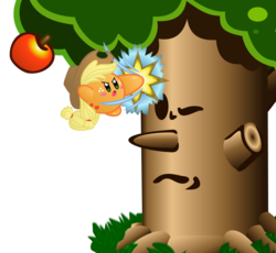 Size: 1393x1284 | Tagged: safe, artist:jrk08004, applejack, apple, apple tree, applebucking, bucking, crossover, food, kirby, kirby (character), kirby applejack, kirbyfied, nintendo, parody, simple background, species swap, transparent background, tree, video game, whispy woods