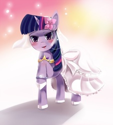 Size: 959x1054 | Tagged: safe, artist:freedomthai, twilight sparkle, unicorn, clothes, dress, female, flower, flower in hair, solo, unicorn twilight, wedding, wedding dress