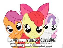 Size: 680x510 | Tagged: apple bloom, caption, cutie mark crusaders, image macro, pokémon, safe, scootaloo, sweetie belle