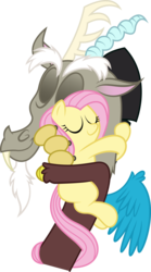 Size: 4519x8124 | Tagged: absurd res, artist:tim015, cute, discord, discoshy, female, filly, fluttershy, hilarious in hindsight, hug, male, safe, shipping, simple background, straight, transparent background, vector