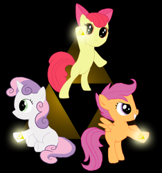 Size: 1450x1550 | Tagged: apple bloom, artist:fantasyglow, artist:posexe, cutie mark crusaders, safe, scootaloo, sweetie belle, the legend of zelda, triforce