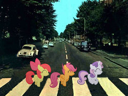 Size: 680x510 | Tagged: abbey road, album cover, apple bloom, cutie mark crusaders, irl, parody, photo, ponies in real life, pony, safe, scootaloo, skipping, sweetie belle, the beatles, vector