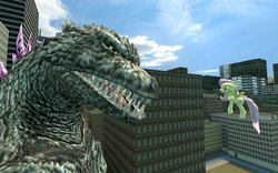 Size: 900x563 | Tagged: safe, artist:fezwearingdoctor, fluttershy, kaiju, pegasus, pony, crossover, gmod, godzilla, godzilla (series), godzilla 2000, godzillashy, this will end in tears and/or death
