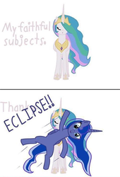 Size: 481x708 | Tagged: safe, artist:tootootaloo, princess celestia, princess luna, ask princess luna, 2 panel comic, comic, cute, dialogue, eclipse, female, photobomb, royal sisters, siblings, sisters