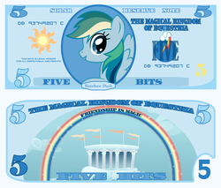Size: 1200x1020 | Tagged: artist:cradet, bill, bits, cloudsdale, money, part of a series, part of a set, rainbow dash, rainbow dosh, safe, stock vector