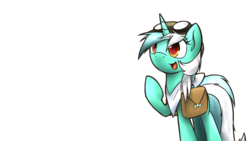Size: 1024x576 | Tagged: safe, artist:dshou, lyra heartstrings, goggles, neckerchief, saddle bag, simple background, solo, transparent background