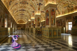 Size: 3072x2048 | Tagged: safe, artist:pinkiecannon, twilight sparkle, pony, high res, irl, photo, ponies in real life, smiling, vatican, vector