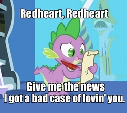 Size: 436x386 | Tagged: safe, edit, edited screencap, screencap, nurse redheart, spike, dragon, friendship is magic, caption, female, image macro, letter, male, quill, robert palmer, shipping, spike's love letters, spikeheart, straight, tongue out