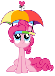 Size: 900x1242 | Tagged: safe, artist:are-you-jealous, pinkie pie, earth pony, pony, feeling pinkie keen, female, hat, looking up, rainbow hat, simple background, solo, transparent background, umbrella hat, vector